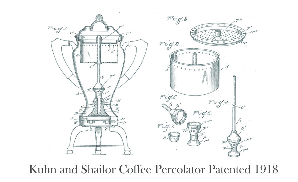 Kuhn and Shailor Coffee Percolator Patented 1918