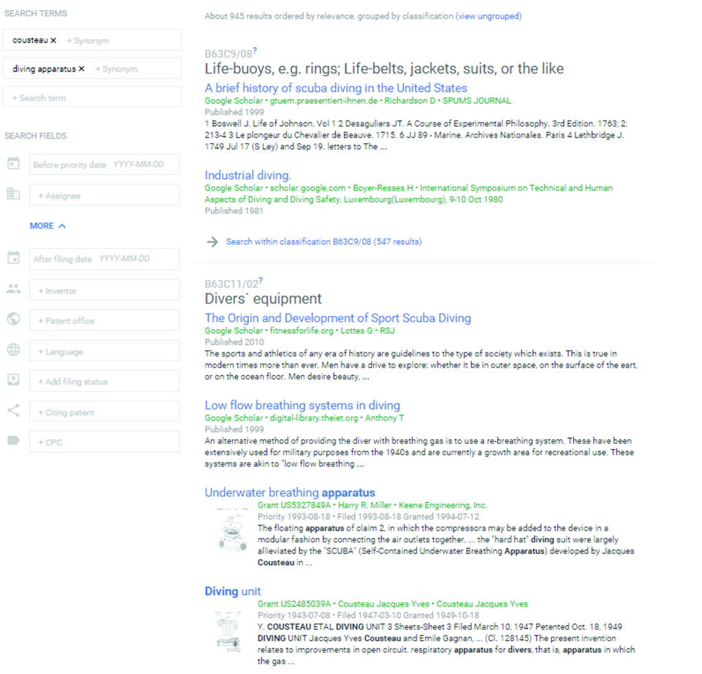 Google Patents search results page including Prior Art Finder results.
